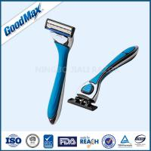 Best Triple Blade Straight Edge Shaving Razor Men Use Blue With Chrome Coated Handle wholesale