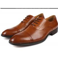 Best Flat Cap Toe Mens Oxford Dress Shoes , Mens Brown Suit Shoes Low Heel Type wholesale