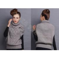 Best Sleeveless Chunky Cable Knit Sweaters Pullover with Turn-Down Collar Drop Shoulder wholesale