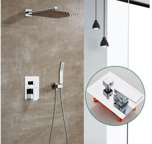 China Electroplate Matte Silver Concealed Bath Shower Mixer Tap on sale