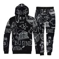China Full White Printing Mens Jogging Suits , Mens Gym Tracksuit Anti Pilling on sale