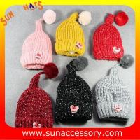 Best AK17024 Sun Accessory winter kids knitted beanie caps and hats with pom pom ,caps in stock MOQ only 3 pcs wholesale