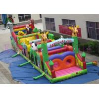 China Colorful 0.55mm PVC Wild Animal Blow Up Obstacle Course For Outdoor Sport Games on sale