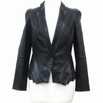 Cheap Women's coat/women's PU short style jacket/PU one-button jacket, nice pattern for sale
