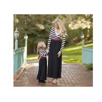 Buy cheap Black Stripe Mommy And Me Family Matching Outfit With Long Sleeve , Round Neck from wholesalers