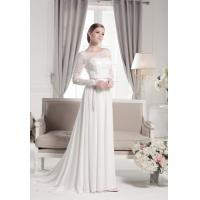 Best Long lace sleeves backless draped chiffon wedding dress wholesale wholesale