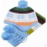 Outdoor Lovely Knitting peruvian hat snow cap with pompom tassels scarf 2 pcs set for kids