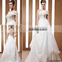 Details of oblique shoulder beaded bridal gowns 90032 for Cheap wedding dresses in az