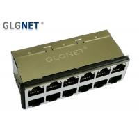 """30 U"""" Gold Plating 10G RJ45 Connector 2 x 6 Port With Surge Protection EMI Gasket"""