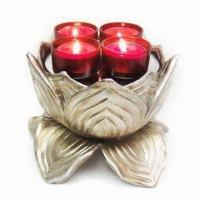 Best Lotus T-light Candle Holder, Made of Polystone in Champagne Finish, Measures 17 x 17 x 12cm wholesale