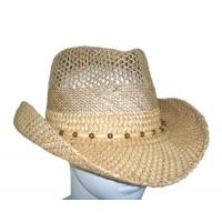 Best Summer Seagrass Fashion Womens Straw Cowboy Hats With Wooden Beads For Party, Beach wholesale