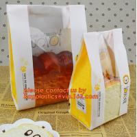 Customize 3 Side Visible Clear Window Offset Printing Bakery Bags, Customize V Bottom with Clear Window Food Grade Toast