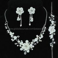 Best Bridal Wedding/Pageant White Ceramic Fresh Water Pearl Handmade Necklace, Bracelet and Earrings Set wholesale