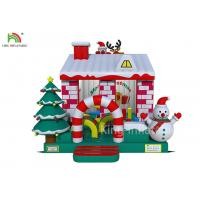 China Red / White Color Inflatable Bouncy Castle House With Christmas Tree For Business on sale