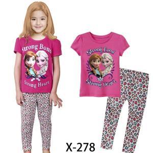 China Rose Girl Frozen Summer Pajamas Set Clothes set X-278 on sale