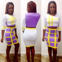 Buy cheap 2014 New Women Summer Plaid Sexy Bodycon Dress 2 Piece Bandage Dress Celebrity from wholesalers