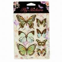 Best 3D Fly Stickers with Die-cut of Butterflies, Dragonflies and Birds wholesale