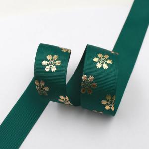 China Dark Green Hot Foil Ribbon , Flowers Printing Thin Gift Wrap Ribbon on sale