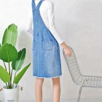 Best Ripped Knee Length Ladies Dungaree Dress , Women Denim Dress With Pockets wholesale