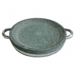 China BBQ Grill Stone Board Round Dia.24 cm Granite Stone Cooking Pot Grey Color on sale