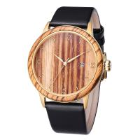 China Classic Design Genuine Leather Strap Wrist Watch Ladies Wooden Watches Men on sale