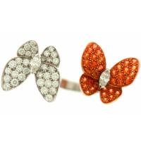 Best Customized Fashion Double Butterfly Jewelry Rings Zircon Paved wholesale