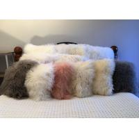 Best Long Hair Sheepskin Real curly Sheep fur pillow Mongolian lambswool Cushion wholesale