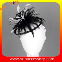 Best 0915  fashion navy  sinamay fascinators hats and caps with feather  ,Fancy Sinamay fascinator  from Sun Accessory wholesale