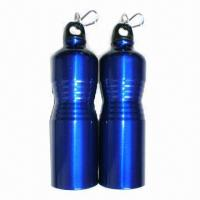 China 750mL Aluminum Water Bottles with Carabiner Clip and Concave Middle Body on sale