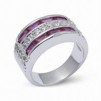 Best 925 Sterling Silver Ring with CZ and Rhodium Plating wholesale