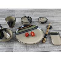 China Industrial Ceramics Hand Painting Brown Stoneware Cultery SGS Certification on sale