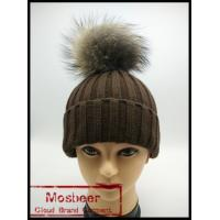 Best Winter Lady Knit Beanie Hat With Real Raccoon Fur ball wholesale