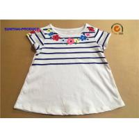 Best Floral Screen Print Baby Short Sleeve Shirt Crew Neck Childrens White T Shirts wholesale