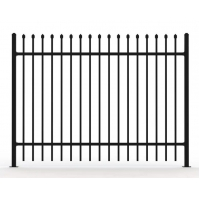 China Powder Coated 2 Rails Wrought Iron Picket Fence on sale