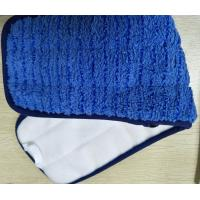 Best Microfiber 13*47cm Scrubber Rigid Wire Blue Piping Coral Fleece Wet Mop Pads wholesale