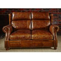 Best Retro Vintage Living Room 2 Seater Leather Sofa With Double Layer Back Cushion wholesale