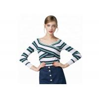 Best Sexy Lady Cozy Knit Sweater Long Sleeve V Collar Pullover With Striped Pattern wholesale