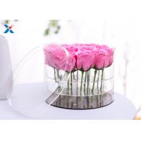 Best Crystal Clear Round Acrylic Flower Box 9 Holes For Rose Display Durable wholesale
