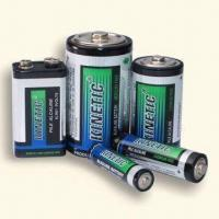 China Green Alkaline Batteries with Dual Language Printed Metal Foil Jacket on sale