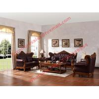 Best European Classic Solid Wooden Carving Frame with Italy Leather Upholstery Sofa Set wholesale