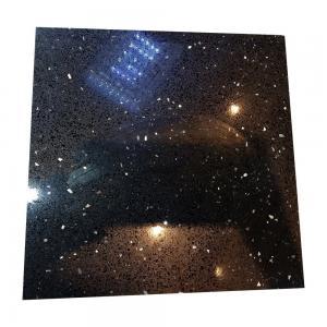 China Black Galaxy Artificial Quartz Stone Slabs , Black Galaxy Quartz Countertop on sale