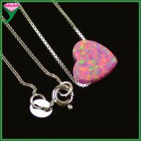 Best wholesale 925 sterling silver chains synthetic opal heart shaped pendants charms wholesale