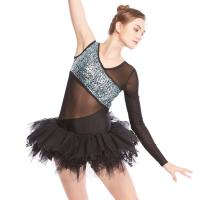 Best MiDee V-Neck One-Sleeve Leotard with Lace Inserted Tutu Skirt Ballet Dance Costume Dress wholesale