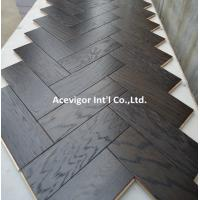 Cheap High-end customized White Oak Parquet Herringbone (stained wenge color) for sale