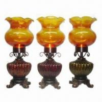 Best S/3 Glass Tea Candle/Glass Flower Holder with Painted Amber Finish wholesale