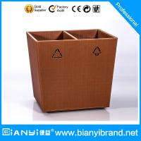 Best Double Layer PU Leather Coated Hotel Room Dustbin/Bathroom Faux leather Waste Bin Ring/Tra wholesale