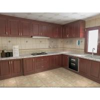 Best Wooden Grain Cherry Wood Pvc Villa Kitchen Cabinets Traditional L - Shape For Home wholesale