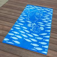 Best Kids Blue Fish Jacquard Beach Towel Long - Lasting And Absorbent Design wholesale