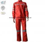 Best Red Cotton Fire Retardant Suit / Reflective Flame Resistant Rain Suit wholesale