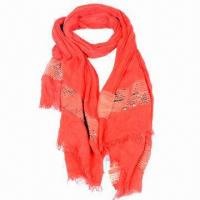 China Ladies' Scarf/Shawl, Decorated with Glolden Twinklings on sale